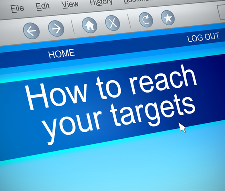 3d Illustration depicting a computer screen capture with a reaching targets concept. Stock Photo