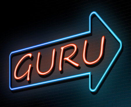 3d Illustration depicting an illuminated neon sign with a guru concept.
