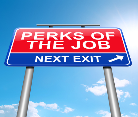 3d Illustration depicting a sign with a perks of the job concept. Stock Photo