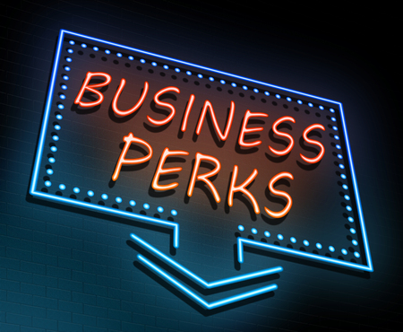 favours: Illustration depicting an illuminated neon sign with a business perks concept.