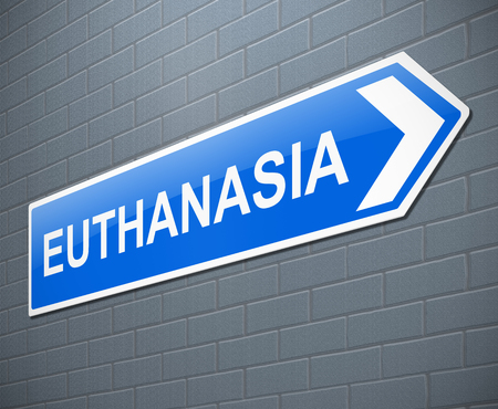 3d Illustration depicting a sign with a euthanasia concept.