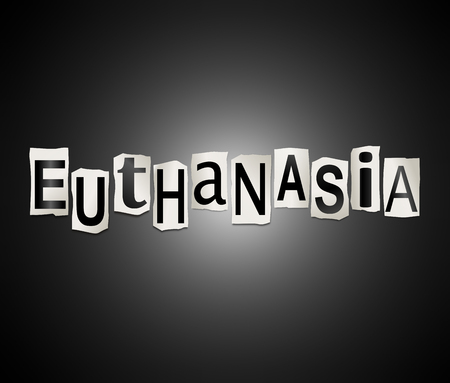 3d Illustration depicting a set of cut out printed letters arranged to form the word euthanasia.