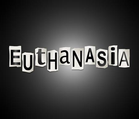 """Ilustración 3D que representa un conjunto de recortar letras impresas dispuestos para formar la palabra """"eutanasia"""". Foto de archivo - 81894449"""