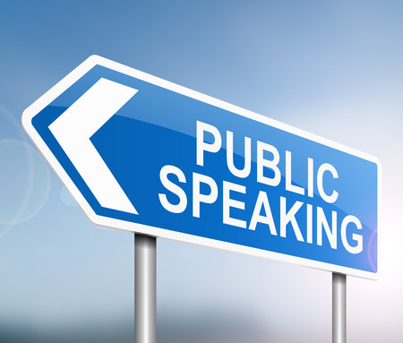 oration: 3d Illustration depicting a sign with a public speaking concept. Stock Photo