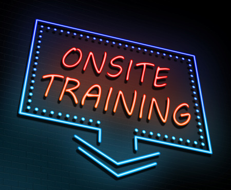 onsite: 3d Illustration depicting an illuminated neon sign with an onsite training concept. Stock Photo