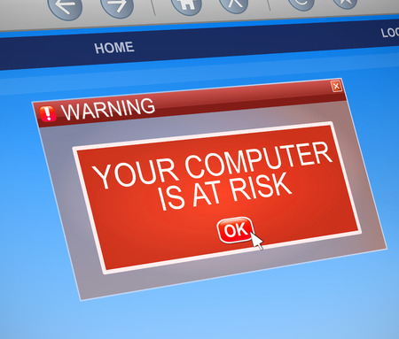 vulnerable: Illustration depicting a computer dialog box with a security threat concept.