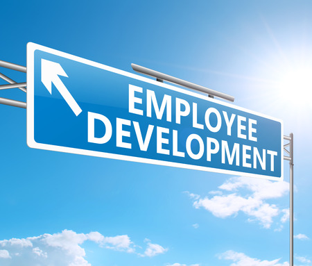 3d Illustration depicting a sign with an employee development concept. Stock Photo