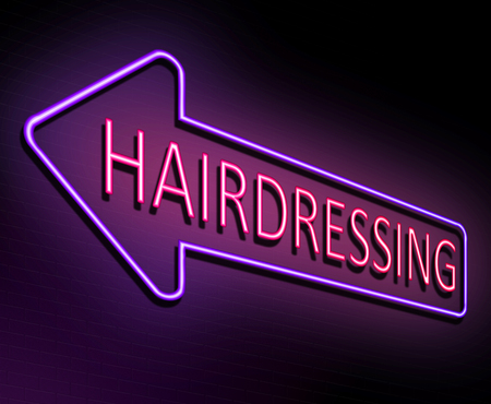 3d Illustration depicting an illuminated neon sign with a hairdressing concept. Stock Illustration - 82444064