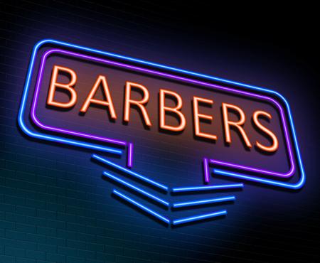 3 d のイラストを描いた理髪店コンセプトに照らされたネオンサイン。