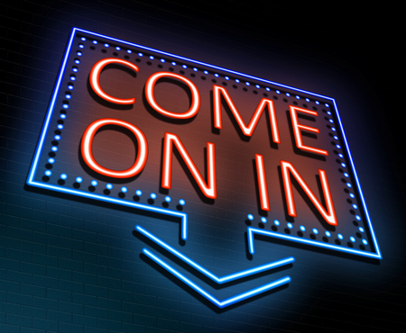 come in: 3d Illustration depicting an illuminated neon sign with a come on in concept. Stock Photo