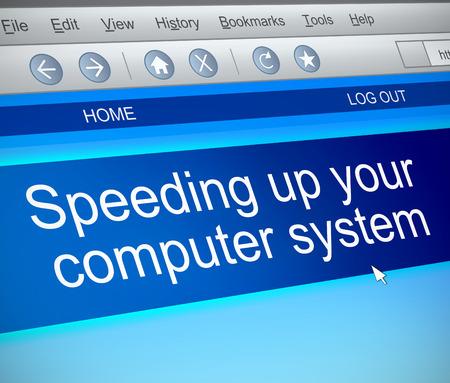 3d Illustration depicting a computer screen capture with a speeding up computer concept. Stock fotó