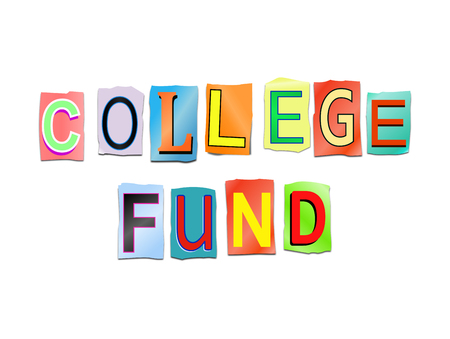 3d Illustration depicting a set of cut out printed letters arranged to form the words college fund.