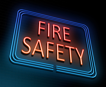hazard sign: 3d Illustration depicting an illuminated neon sign with a fire safety concept. Stock Photo