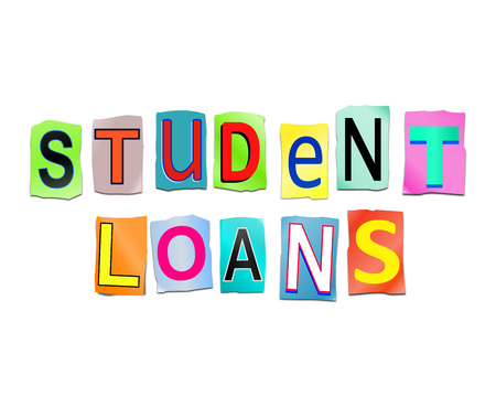 3d Illustration depicting a set of cut out printed letters arranged to form the words student loans.