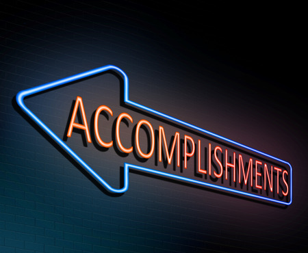3d Illustration depicting an illuminated neon sign with an accomplishment concept. Stock Photo