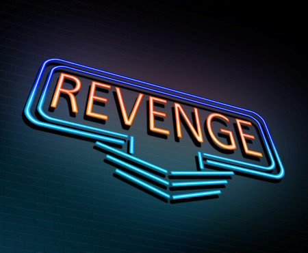 retribution: 3d Illustration depicting an illuminated neon sign with a revenge concept.