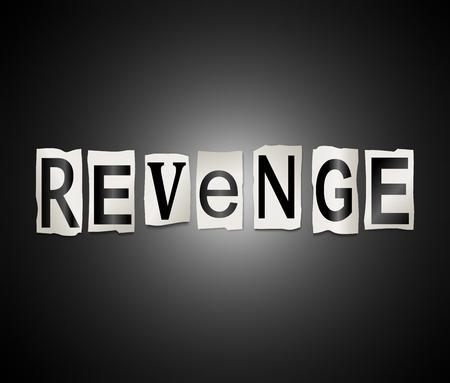 3d Illustration depicting a set of cut out printed letters arranged to form the word revenge.