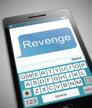 3d Illustration depicting a phone with a revenge concept.
