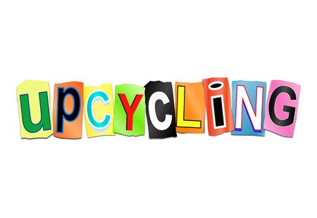 Illustration 3D représentant un ensemble de lettres imprimées disposées de manière à former le mot upcycling Banque d'images - 83257399