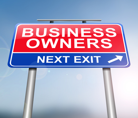 3d Illustration depicting a sign with a business owner concept.