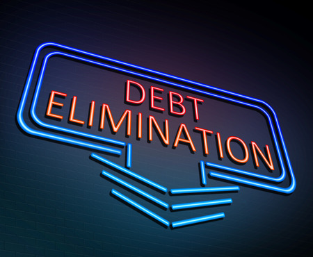 3d Illustration depicting an illuminated neon sign with a debt elimination concept.