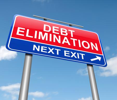 3d Illustration depicting a sign with a debt elimination concept.