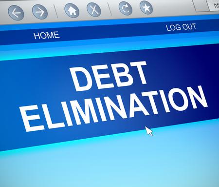3d Illustration depicting a computer screen capture with a debt elimination concept.