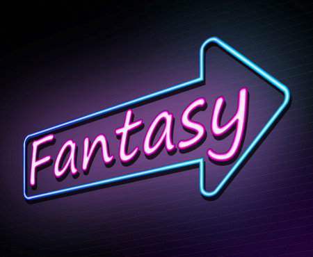 3d Illustration depicting an illuminated neon sign with a fantasy concept. Stock Photo