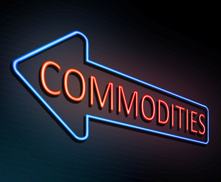 3d Illustration depicting an illuminated neon sign with a commodities concept.