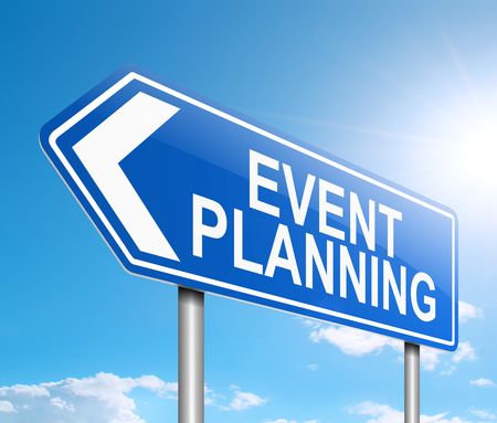 3d Illustration depicting a sign with an event planning concept.