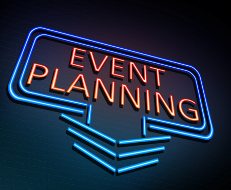 3d Illustration depicting an illuminated neon sign with an event planning concept.