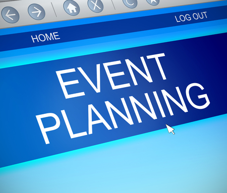 3d Illustration depicting a computer screen capture with an event planning concept.