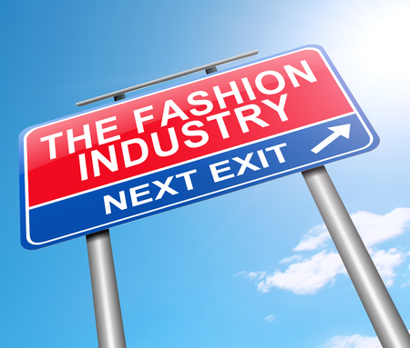 3d Illustration depicting a sign with a fashion industry concept.