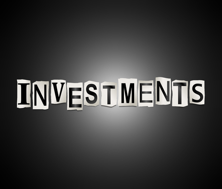 3d Illustration depicting a set of cut out printed letters arranged to form the word investments.