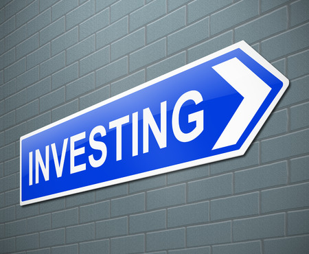 3d Illustration depicting a sign with an investing concept.