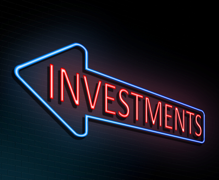 3d Illustration depicting an illuminated neon sign with an investments concept.
