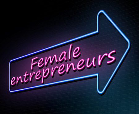 3d Illustration depicting an illuminated neon sign with a female entrepreneurs concept.