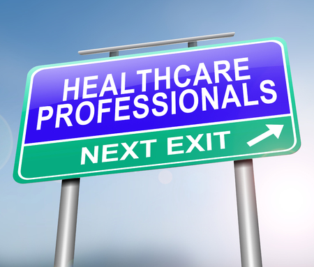 3d Illustration depicting a sign with a healthcare professionals concept.