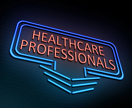 3d Illustration depicting an illuminated neon sign with a Healthcare Professional concept. Stock Photo