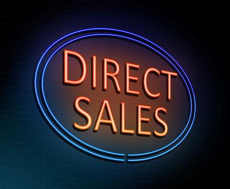 3d Illustration depicting an illuminated neon sign with a direct sales concept. Stock Photo