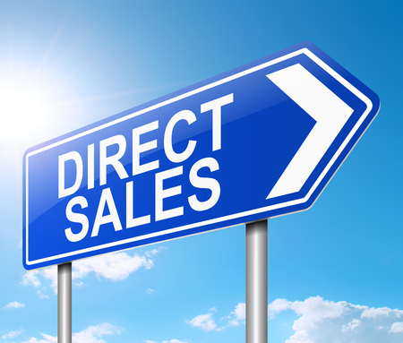 3d Illustration depicting a sign with a direct sales concept.