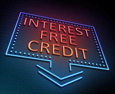 3d Illustratie die een verlicht neonteken afschildert met een concept van het rentevrij krediet.