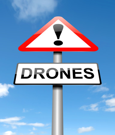 3d illustration depicting a warning sign with a drones concept.