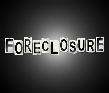 3d Illustration depicting a set of cut out printed letters arranged to form the word foreclosure.