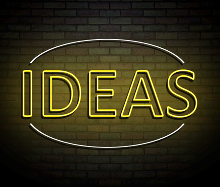 3d Illustration depicting an illuminated neon sign with an ideas concept. Stock Photo