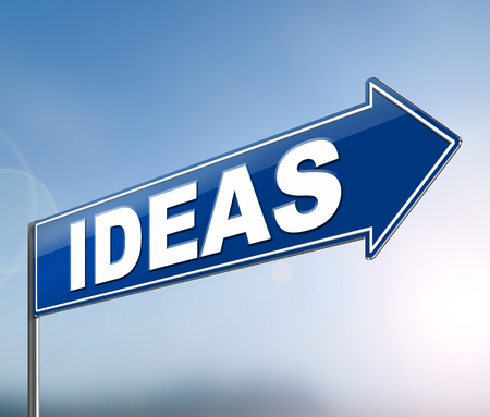 3d Illustration depicting a sign with an ideas concept.