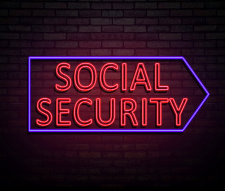 dole: 3d Illustration depicting an illuminated neon sign with a social security concept. Stock Photo