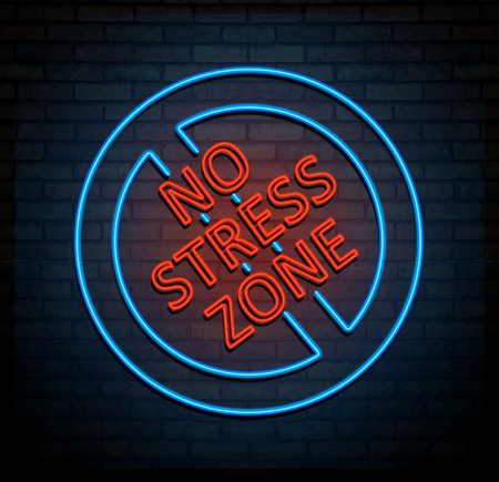 silent: 3d Illustration depicting an illuminated neon sign with a stress free zone concept.