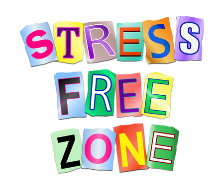 3d Illustration depicting a set of cut out printed letters arranged to form the words stress free zone.