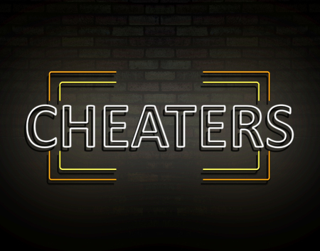 3d Illustration depicting an illuminated neon sign with a cheaters concept.